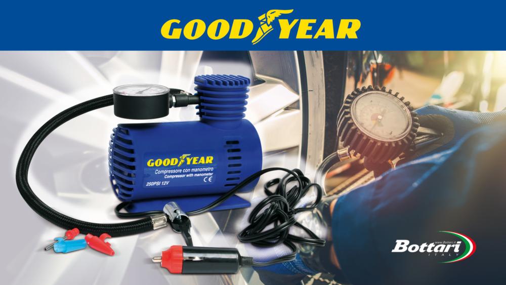 Compressore 12V con manometro Goodyear Goodyear 12V compressor with pressure gauge